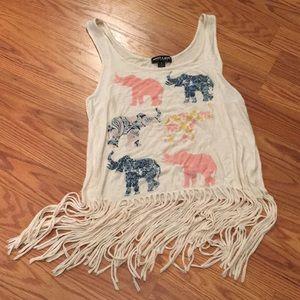 Elephant print fringe tank-top